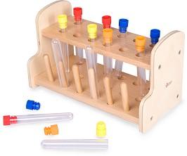 c7c130d7ad6 Изследователски епруветки - Детски комплект за игра с дървена поставка -