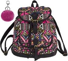 80a681e5f86 Ученическа раница - Fiesta: Pink Ethnic Комплект с ключодържател - помпон. Cool  Pack